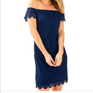 Lilly Pulitzer Navy Off the Shoulder Dress